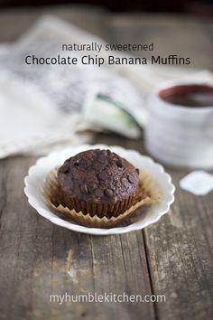 Naturally Sweetened Chocolate Chip Banana Muffins   myhumblekitchen.com