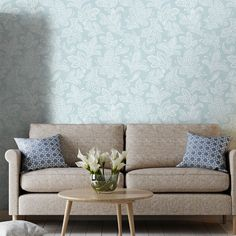 duck egg hallway living crown calico parede sala papel leaf gowallpaper wallpapers rooms montante