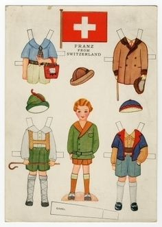 Little Americans from Many Lands - FRANZ from Switzerland Paper Doll c. Gabriel Sons & Co., New York Paper Toys, Paper Crafts, Paper Doll Costume, Paper Manufacturers, World Thinking Day, Paper Dolls Printable, Vintage Paper Dolls, Online Collections, Doll Toys