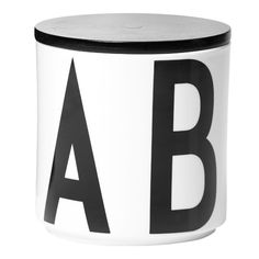 Arne Jacobsen purkki  (A for Arne, B for beautiful, C for clever, D for design and E for everlasting)