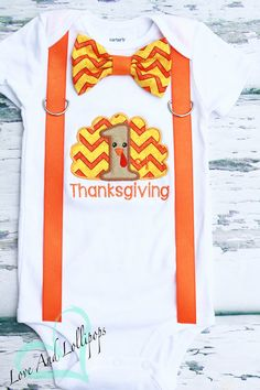 My First Thanksgiving Bow tie and suspender set, Baby Boy Thanksgiving Onesie Bodysuit, Baby Boy Thanksgiving Shirt, Fall Clothing, Gobble by LoveAndLollipopsBaby on Etsy