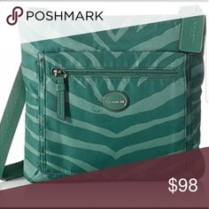 Coach Crossbody zebra get away bag  The color is more turquoise than green  Durable nylon Great for rainy days Coach Bags Crossbody Bags