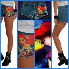 DISNEY Little Mermaid Ariel Denim Jean Cut-Off Shorts Adult Jr's Size (9) NEW!