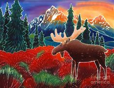 Moose In The Meadow Painting by Harriet Peck Taylor - Moose In The Meadow Fine Art Prints and Posters for Sale