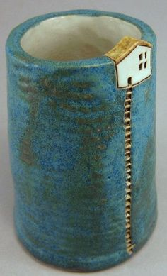 """Midnight Blue Hill"" - Szilvia Vihriälä (stoneware) clay mug diy project inspo Hand Built Pottery, Slab Pottery, Ceramic Pottery, Pottery Art, Pottery Sculpture, Clay Houses, Ceramic Houses, Ceramic Clay, Clay Mugs"