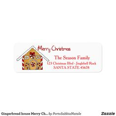 Gingerbread house Merry Christmas  address label   #portosabbianatale #holidaysmail #christmaslabel
