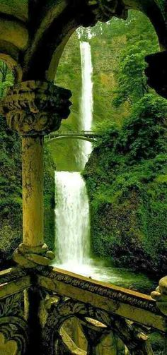 """""""Multnomah Falls is located on the Oregon side of the Columbia River Gorge. The falls drops in two major steps, the total height of the waterfall is conventionally given as 620 feet. Multnomah Falls is the tallest waterfall in the state of Oregon. Places Around The World, Oh The Places You'll Go, Places To Travel, Places To Visit, Around The Worlds, State Parks, Magic Places, Les Cascades, Oregon Travel"""