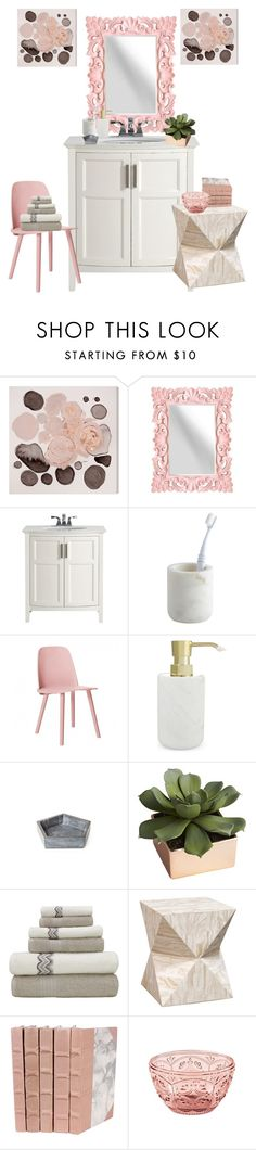 """#marble+blush#bathroom"" by magicadea2013 ❤ liked on Polyvore featuring interior, interiors, interior design, home, home decor, interior decorating, Oliver Gal Artist Co., Stratton Home Décor, CB2 and Muuto"
