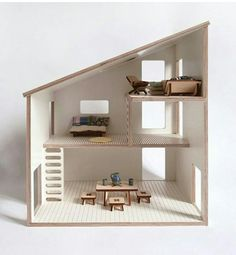 Simple and modern doll house with 3 floor and scales to play with playmobil, sylvanian and other small doll (between 8 and 12 cm) This doll house in Wooden Dollhouse, Wooden Dolls, Paper Furniture, Tiny Furniture, Woodworking For Kids, Miniature Houses, Small World, Diy For Kids, Kids Room