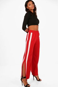 boohoo Camellia Contrast Panel Wide Leg Relaxed Trousers