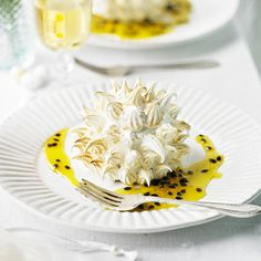 Dark chocolate and passion fruit baked Alaska.