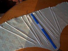 industrial zip ties + duct tape + wide ribbon + drapery fabric