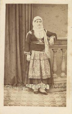 Greek woman in ethnic attire antique CDV photo Greece | eBay