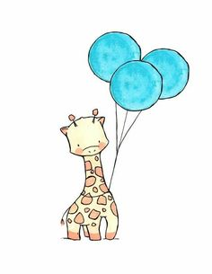 Miss Penny - Nursery Art - Zeichnungen - Cartoon Giraffe Drawing, Baby Animal Drawings, Cartoon Drawings Of Animals, Cute Easy Drawings, Kawaii Drawings, Disney Drawings, Cute Cartoon Wallpapers, Watercolor Illustration, Watercolor Painting