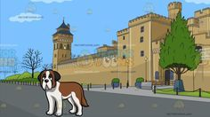 A Sleepy Young St Bernard Dog With The Exterior Of Cardiff Castle Background : A dog with brown and white fur droopy gray ears looking ahead in a bored way and A castle with beige walls known as the Cardiff castle with trees and low fences