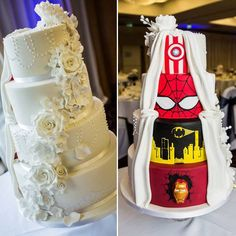 Secret Marvel wedding cake by Tier By Tier Superhero Wedding Cake, Diy Wedding Cake, Beautiful Wedding Cakes, Wedding Themes, Wedding Ideas, Marvel Wedding Theme, Wedding Venues, Batman Wedding, Wedding Photos