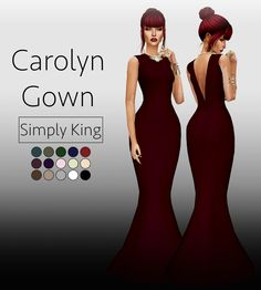 Carolyn GownAn elegant gown that flows into a mermaid tail. Open back because y'all know, I love me some open back dresses ahahha. (15 swatches and all LOD's) Download (SimFileShare) HereIf you use...