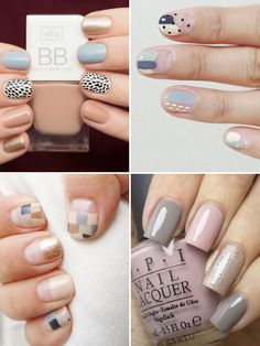 Beautiful neutral nail art for Autumn 2015 | see all the looks on www.onefabday.com