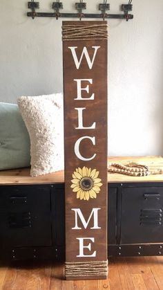 Excited to share this item from my shop: wooden sunflower welcome sign rustic sunflower porch sign tall welcome sign porch decor summer porch sign spring porch sign Welcome Signs Front Door, Wooden Welcome Signs, Front Porch Signs, Diy Wood Signs, Rustic Signs, Pallet Signs, Welcome Home Signs, Welcome Boards, Outdoor Wood Signs