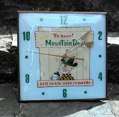 Mountain Dew Antique Clock (Vintage 1960 Hillbilly Cola PAM Soda Pop Drink Advertising Clock)
