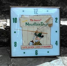 Mountain Dew Antique Clock (Vintage 1960 Hillbilly Cola PAM Soda Pop Drink Advertising Clock)