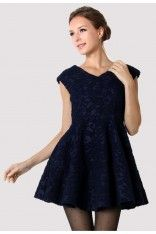 Navy Blue Lace Pleated Dress  #ChicWish List