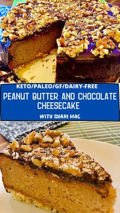 This Keto and Paleo cheesecake is absolutely delicious and satisfying. Lots of peanut butter and chocolate flavour goodness like a Reeses Peanut Butter Cup. Made from cashews, eggs, and peanut butter in the filling. #ketodiet #ketodesserts #ketorecipes #paleodiet #paleodesserts #paleorecipes Best Paleo Recipes, Primal Recipes, Whole 30 Recipes, Dairy Free Recipes, Low Carb Recipes, Delicious Desserts, Keto Desserts, Dessert Recipes, Paleo Dessert