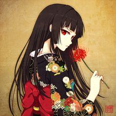 Anime picture hell girl studio deen enma ai rin yuu long hair single looking at viewer black hair red eyes japanese clothes traditional clothes floral print girl flower (flowers) kimono higanbana 444556 en Manga Girl, Chica Anime Manga, Anime Art Girl, Anime Girls, Anime Kimono, Dark Anime, Beautiful Anime Girl, I Love Anime, Anime Negra