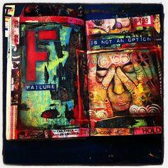 Art Journaling photo transfer; block lettering, dark/light