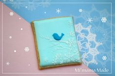 winter bird pattern on sugar cookie Bird Cookies, Fancy Cookies, Sugar Cookies, Christmas Topper, Christmas Cookies, Winter Fun, Winter Theme, Fancy Biscuit, Cookie Decorating Icing