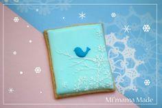 winter bird pattern on sugar cookie Bird Cookies, Fancy Cookies, Sugar Cookies, Christmas Topper, Christmas Cookies, Fancy Biscuit, Cookie Decorating Icing, Winter Wonderland Cake, Client Gifts