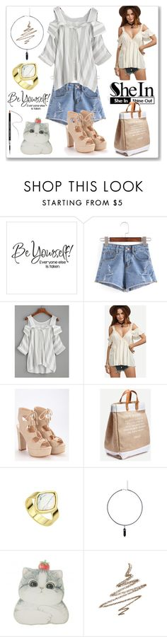 """""""Shein Grey Blouse"""" by ludmyla-stoyan ❤ liked on Polyvore featuring WithChic, Anastasia Beverly Hills, Givenchy, grey, striped, blouse, shoulder and shein"""