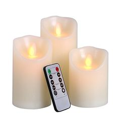Big House 3pcs Flameless Candle Set Battery Operated with Timer Remote Control Real Wax Flicker Pillar Votive Candle Lights for Christmas Decorations -- Check this awesome product by going to the link at the image.