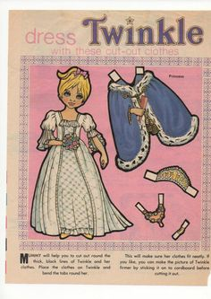 Vintage Paper Doll TWINKLE cut out wardrobe by SadieScissorhand
