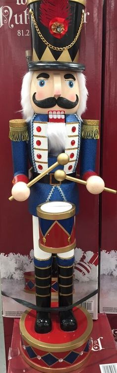 "32"" Tall BIG Wooden Drummer Nutcracker Deluxe Hat Glitter Coat Drum Christmas"