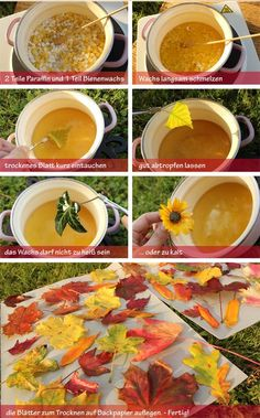 To preserve colorful autumn leaves . - To preserve colorful autumn leaves More - Autumn Crafts, Nature Crafts, Leaf Crafts, Diy And Crafts, Diy For Kids, Crafts For Kids, Color Crafts, Paraffin Wax, How To Preserve Flowers