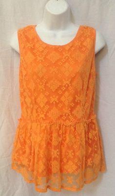 SHASA, Large Orange Lace Blouse with Ruffle Hemline #Shasa #Peplum #Casual
