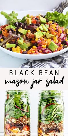 This black bean fiesta mason jar salad makes for a colorful, convenient on-the-go meal. The lime jalapeño dressing is zesty and really ties the whole salad together. Made with black beans, avocado, corn and quinoa. An easy meal prep vegan recipe! Mason Jar Meals, Meals In A Jar, Mason Jar Food, Mason Jar Recipes, Mason Jar Lunch, Mason Jar Drinks, Food Jar, Heart Healthy Recipes, Vegetarian Recipes