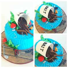 Birthday cake made for a kid who loves to fish.