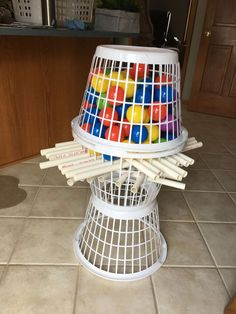 Giant Kerplunk game made from dollar store laundry baskets pvc and ball p - Kinderspiele Youth Games, Games For Kids, Diy Games, Party Games, Free Games, Summer Activities, Toddler Activities, Preschool Outdoor Games, Senior Activities
