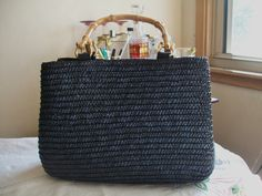 Black St. Johns Bay Woven Wheat Straw  Purse with Bamboo Handles by StephaniesRetroLife on Etsy