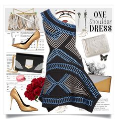 """One Shoulder dress"" by nantucketteabook ❤ liked on Polyvore featuring BCBGMAXAZRIA, Sara Battaglia, Golden Goose, Jimmy Choo, Nearly Natural, Tom Ford and Hervé Léger"