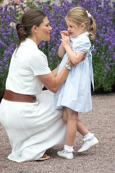 Crown Princess Victoria of Sweden and Princess Estelle of Sweden at Crown Princess Victoria of Sweden's 39th Birthday celebrations at Solliden Palace...