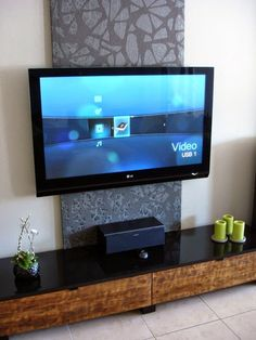 Hide Your TV cords by building a frame with fabric you like on it ...
