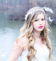 wedding headpiece, bridal hair crown, baby breath hair crown, flower headpiece on Wanelo