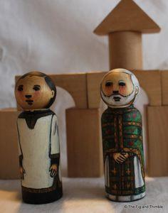 Priest Peg Doll Byzantine watercolored large size 3.5