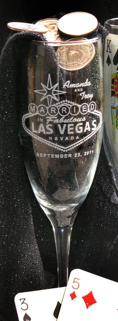 Las Vegas Champagne Toasting Flutes - SET of 2 - Personalized - Engraved on Etsy, $26.00