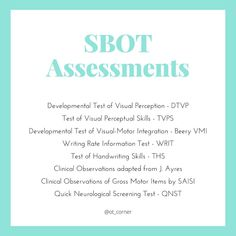 Which assessments do you tend to reach for most often in school settings? 🤔  We find these are our top 8 go-to assessments when assessing our learners:  𝐕𝐢𝐬𝐮𝐚𝐥 𝐏𝐞𝐫𝐜𝐞𝐩𝐭𝐢𝐨𝐧 ✨ DTVP ✨ TVPS ✨ Beery VMI  𝗪𝐫𝐢𝐭𝐢𝐧𝐠 ✨ WRIT ✨ THS  𝐆𝐫𝐨𝐬𝐬 𝐌𝐨𝐭𝐨𝐫 ✨ Clinical Obs  𝐍𝐞𝐮𝐫𝐨 ✨ QNST  Let us know which ones you reach for most 👇  #occupationaltherapy #occupationaltherapist #finemotorskills #earlyintervention #schoolbasedot #grossmotorskills… Occupational Therapist, Early Intervention, Gross Motor Skills, Perception, Assessment, Clinic, Therapy, Corner, Let It Be