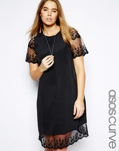 ASOS CURVE - Shift Dress With Lace Hem