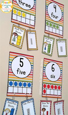 Bright Rainbow Number Posters ( 1 - 20). Add additional concepts as they have been covered in class. $